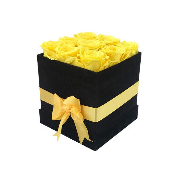 Dologotrajni Šopek iz 9 Rumenih Vrtnic v Črni Velur Škatlici