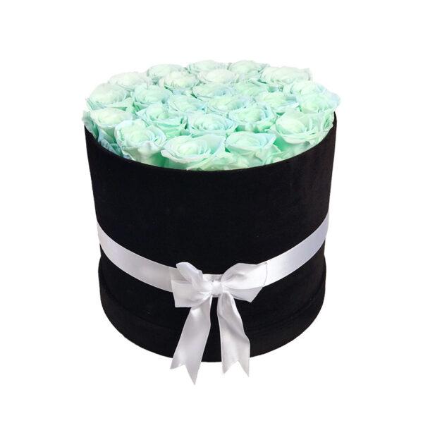 Dologotrajni Šopek iz 25 Vrtnic Meta Zelene Barve v Črni Velur Škatli
