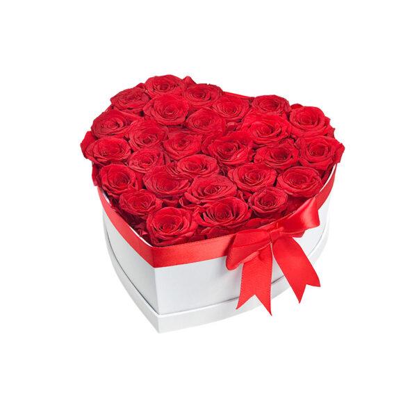 Dologotrajni Šopek iz 27 Rdečih Vrtnic v Beli Škatli v Obliki Srca