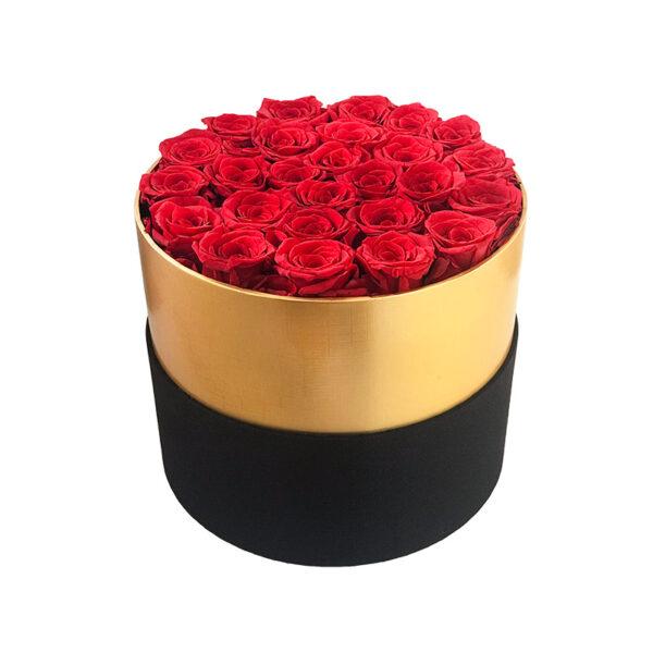Dologotrajni Šopek iz 26 Rdečih Vrtnic v Črno Zlati Škatli
