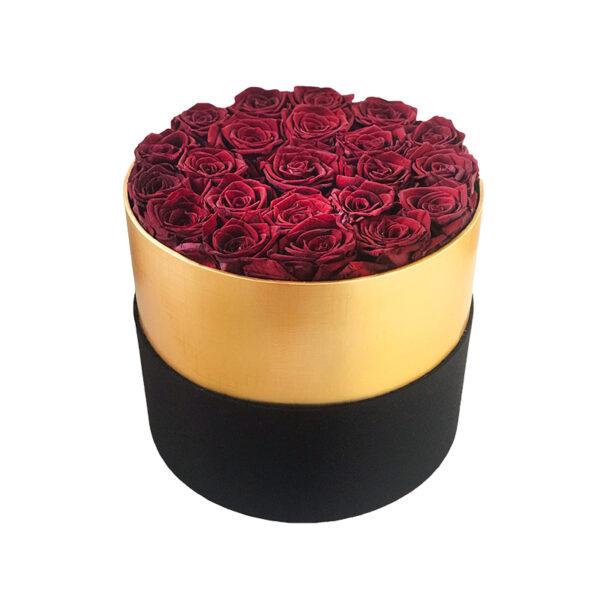 Dologotrajni Šopek iz 22 Temno Rdečih Vrtnic v Črno Zlati Škatli