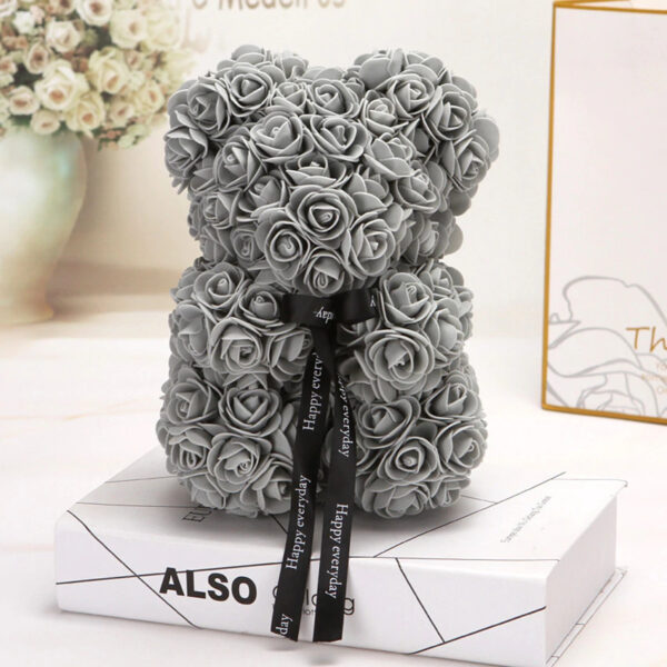 Medvedek iz vrtnic temno sive barve, 25cm