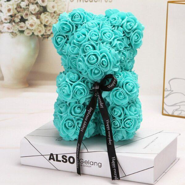 Medvedek iz penastih vrtnic meta barve, 25 cm