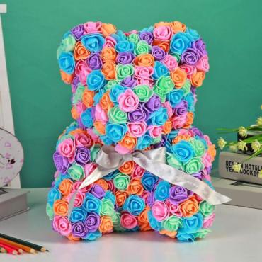 Medvedek iz penastih večbarvnih vrtnic, 40 cm