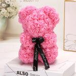 Medvedek iz penastih vrtnic rosa barve, 25 cm
