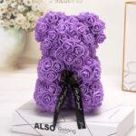 Medvedek iz penastih vrtnic vijolične barve, 25 cm