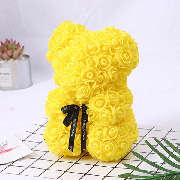 Medvedek iz penastih vrtnic rumene barve, 25 cm