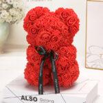Medvedek iz penastih vrtnic, rdeče barve, 25 cm